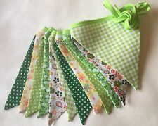 Bunting - Polka Floral Gingham Green & Yellow Vintage Shabby Chic Quality 9ft