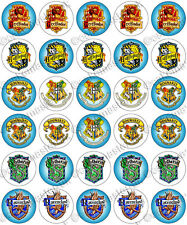 30 x Harry Potter Crests Edible Rice Wafer Paper Cupcake Toppers Hogwarts