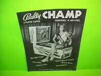 Bally Champ 1970s Pinball Machine Black & White Pull Out Trade Magazine Ad