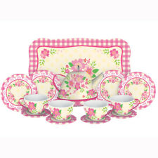 Fancy Tin Tea Set Toys 15 Pieces Kitchen Play Preschool Dishes Brand New #FNTS