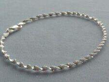 "Twist Design- 3mm- Italy 925 10"" Sterling Silver Ankle Bracelet-"