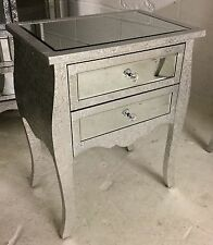 Silver Metal Embossed Mirrored Low 2 Drawer Bedside Cabinet Table