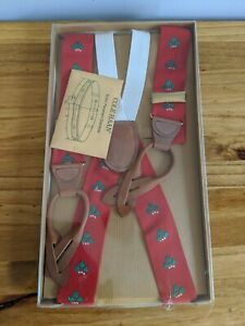 Men's Vintage Cole Haan Suspenders New Red Green Holiday Christmas