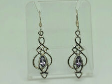 Gorgeous Vintage Sterling Silver Amethyst Celtic Entwined Knot Drop Earrings