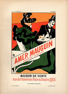 """EMILE BERCHMANS Affiches Etrangeres 1897 Stone Litho Poster: """"AMER MAUGUIN"""""""