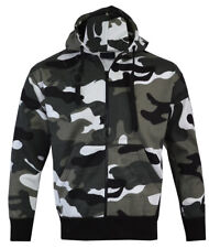 Mens Army Military Camo Camouflage Zip Hoodie Hooded Jacket Fishing S-XXL