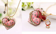 N678 BETSEY JOHNSON Dangling Magic Love Heart Opening Box with Arrow Necklace US