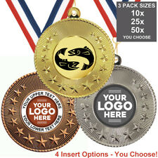 FISHING METAL MEDALS 50mm, PACK OF 10,RIBBONS, INSERTS or OWN LOGO & TEXT