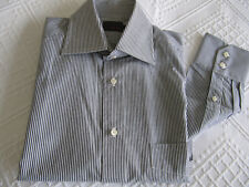 "FERAUD GREY/WHITE PINSTRIPE 100% COTTON SHIRT TAPERED FIT 15"" BNWOT"