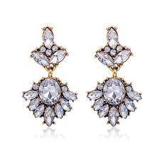 Ohrringe Ohrhänger Kristall Strass Statement Antik Gold Farbe Braut Ball Coctail