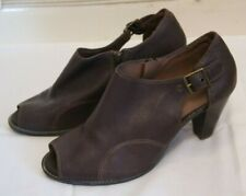 Footglove Brown Leather Open-Toe Shoes with a High-Heel Size 5