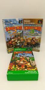 Super Donkey Kong 1 2 3 Nintendo SNES Boxed With Manual Japan Import