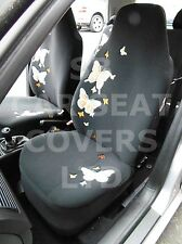 i - TO FIT A TOYOTA YARIS CAR, SEAT COVERS, HIGH BACK, ORANGE BUTTERFLY