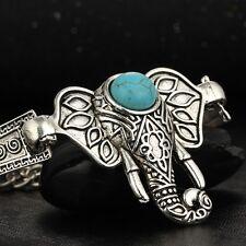 Boho Tibetan Silver Turquoise Elephant Pattern Bracelet Bangle Jewellery Gift