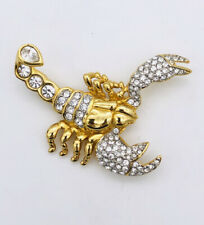 Swarovski Crystal Gold Toned Scorpion Brooch Pin