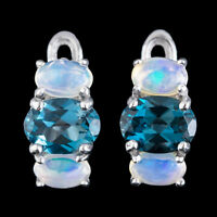 100% NATURAL 7X5MM LONDON BLUE TOPAZ & WELO ETHIOPIA OPAL SILVER 925 EARRING