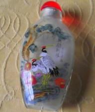 More details for oriental crane fine detailed reverse inside hand painted snuff bottle b