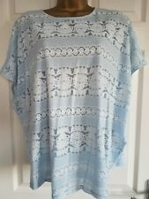 Ladies Tops Size 16/18 Blue White Summer oversized box tops