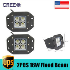 2PCS Led Work light Flood Beam Cree Flush Mount Jeep Off-Road 12V Cube Pods Lamp