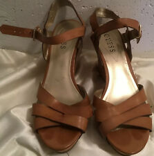 Guess Women's Sandals Wedges Heels Shoes Open-Toe Strappy Brown Leather Size 9M