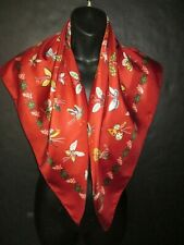 RED SILK SCARF w charming colorful BUTTERFLY print & Floral Arrangement