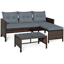 3PCS Patio Wicker Rattan Sofa Set Outdoor Sectional Conversation Set Lawn Garden