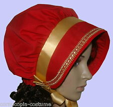Ladies Victorian American Civil War costume fancy dress bonnet red and gold