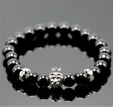 New Fashion Men's Spot Natural Lava Stone Silver Buddha Beaded Charm Bracelet