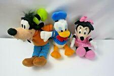 Disney 3 Plush Animals Goofy 12''  Minnie 9'' and Donald Duck 9'' Small Bundle