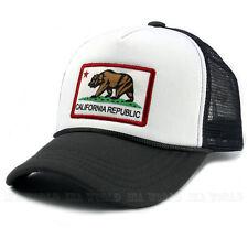 California Republic Flag hat Foam Trucker Mesh Snapback Baseball cap-White/Gray