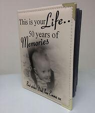 Personalizadas Foto Álbum, libro de memoria, este es su vida, 50º Cumpleaños Regalo