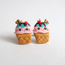 Ice Cream Sundae Polymer Clay Handmade Mini Food Kawaii Girls Earrings Jewelry