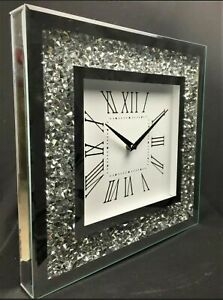 MIRROR CRUSHED DIAMOND SILVER CRUSHED CRYSTAL FILLED SPARKLY 35x35CM WALL CLOCK✨