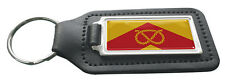 Staffordshire County Flag Rectangle Black Leather Keyring