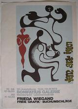 Plakat Ausstellung Frieda Wiegand Grafik Buchumschläge Buchkunst Hamburg 1973