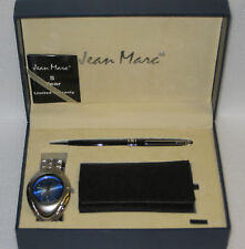 New Jean Marc Blue Mens Watch/Pen/Key Wallet Set NIB Gift Boxed