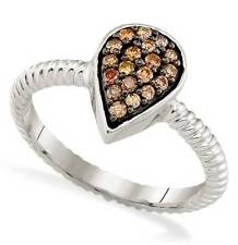Chocolate Brown Diamond Ring 10K White Gold  Pear Cluster Ring .20ct Rope Band