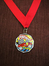 colorful pinewood racing medal red neck drape cub scout derby