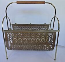 Mid Century Atomic Vintage Gold Brass like Metal Wire LP Record Magazine Rack
