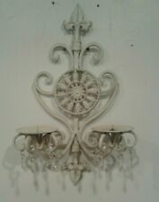 SHABBY CHIC WHITE IRON WALL SCONCE CANDLE HOLDER w/HANGING PENDANTS