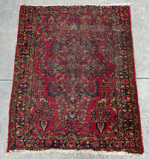 "Antique 1920 Handmade Red Persian Sarouk Wool Rug Oriental Area Carpet 57"" x 44"""