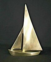 SOLID BRASS Vintage Large Heavy Sailboat Sculpture 10 inch Tall Weight 1.3 Pound
