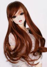 "8-9-10"" 1/3 BJD Long Light Reddish Brown Curl Wig LUTS Doll SD DZ DOD MSD Hair L"