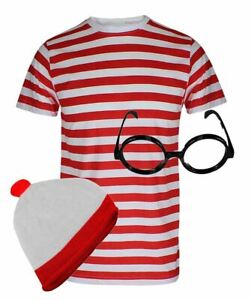 Mens Red and White Striped T Shirt Hat And Glasses Set Boys Party Wear Clothings
