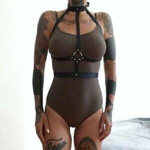 Women PU Faux Leather Body neck to waist harness BDSM bondage Fancy Club Costume