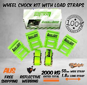 Wheel Chock Kit Tie Down Straps Ratchet Strap 2000kg Car Trailer ATV 1.8m 50mm