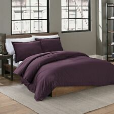 Garment Washed Solid Twin Duvet Cover Set in Plum