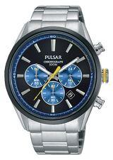 Reloj Cronógrafo pulsar Caballeros De Acero Inoxidable Pulsera Dial Azul Marino Amarillo Detalle