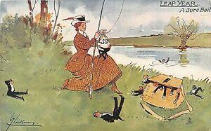 POSTCARD  COMIC LEAP YEAR - FISHING - A SURE BAIT - THACKERAY - TUCK