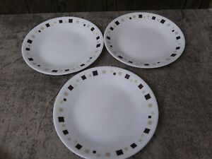 "3 Corelle Geometric 6.75""  Bread/Dessert Plates Brown Tan Green Squares EUC"